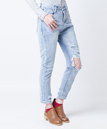 Celana Ripped Jeans Baggy Merongshop Blue