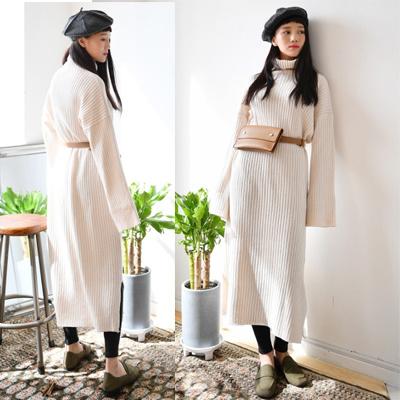 2017年秋冬韩国ファッション森女子レジャー大コードカジュアルロングニットのロングドレス
