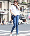 2016_Korean frayed hole Slim waist thin stretch pencil pants trousers