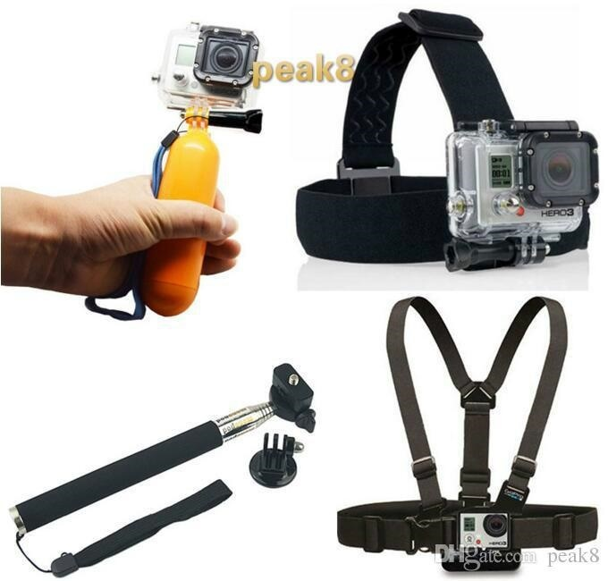 4k sport camera Accessories Go pro set Float Bobber gopro Selfie stick Head  Strap For Gopro Hero4 3+