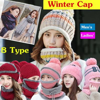 86e32e622e2 Winter Knitted Hat Scarf Caps Neck Warmer Winter Hats For Men Women  Skullies Beanies Warm Fleece