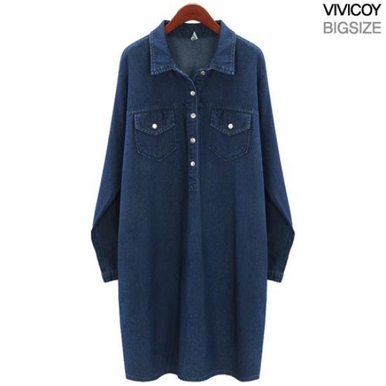 ビビ己斐バンオプンのデニムワンピースMS 綿ワンピース/ 韓国ファッション
