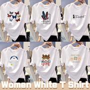 White T Shirt Women Summer Flower Short Sleeve Lady Tops Tshirt Ladies Womens Graphic Female Tee