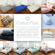 [Cotton Pure™] 100% Cotton Knitted Wrinkle Resistance Bundled Set for all mattress