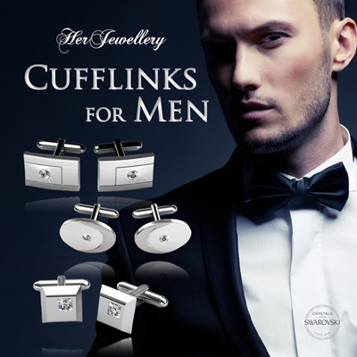 450ada7c673a Embellished with Crystals from Swarovski® - Her Jewellery Cufflinks for Men