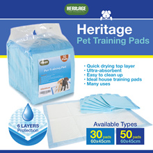 HERITAGE Ultra-absorbent Extra Large Pets Training Pads 60x45cm