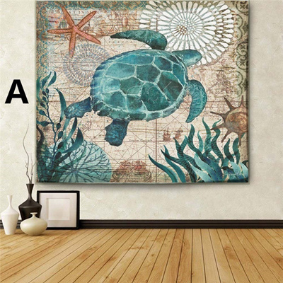 2 Sizes Retro Sea Turtle Crab Octopus Hippocampus Printed Tapestry Bedspread Yoga Mat Blanket Beach
