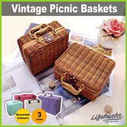 ★ Picnic Baskets ★ Vintage Design Decorative Hand Woven Rattan or Straw Suitcase Basket