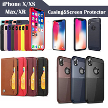 2018 iPhone XS Max XR X 8 7 Plus screen protector tempered glass flip smart case magnetic casing SG