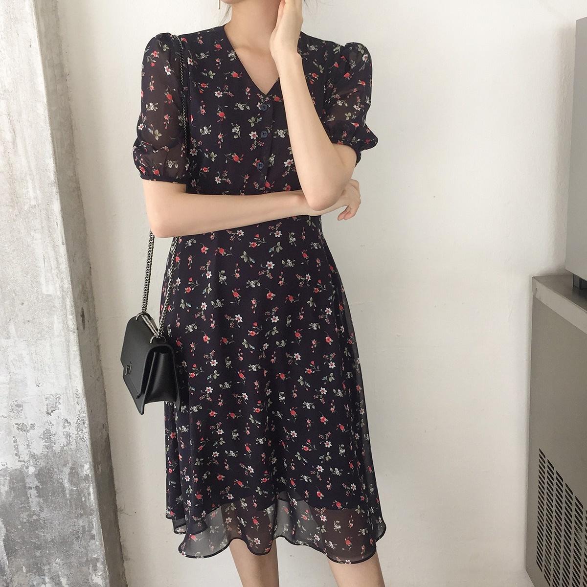 韓國正品 CHERRYKOKO 夏季新品 macam浪漫風V領短袖雪紡碎花連衣裙
