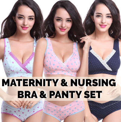 16e12c40f8  3D DESIGN Maternity Nursing Bra Panty Set Fashion Lingeries♥Padded  Wireless Cotton Lace