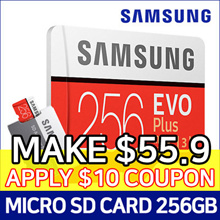 SAMSUNG Micro SDXC  EVO PLUS 256GB Memory Card with SD adapter ★ U3 Class10 ★100MB/s