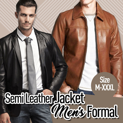 Jaket Semi Kulit Pria Formal // Black-Brown-Tan // Size M-XXXL Deals for only Rp139.000 instead of Rp139.000