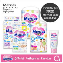 [Kao]【FREE Baby cream worth $12.95】Merries Diapers - Tape / Pants | Premium diapers made in Japan