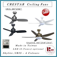 Super Sales- CRESTAR Ceiling Fans Skylite/ IRIS LED Light / Remote Made in Taiwan - LOCAL SETS