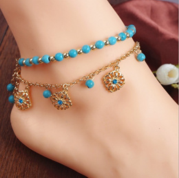 23707901b New Boho Turquoise Beads Tassel Chain Anklet Barefoot Beach Sandals Foot  Jewelry