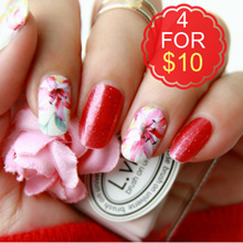 🌺SPRING SALE 4 FOR $10🌺 Glitter and Floral Nail Stickers ♥ No Dry Time ♥ Easy Application