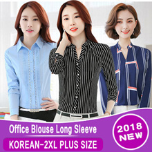 【High-quality】 Woman Branded Office Blouse Long Sleeve Material Cotton! Limited Ready S