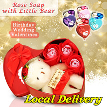 Rose Soap with Little Bear Bath Rose Soap Flower Petal With Gift Box For Birthday Wedding Valentines