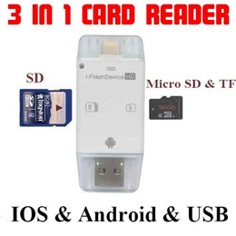 Newest Flash Drive Storage 3 in 1 iFlash Drive USB Micro SD SDHC TF Card Reader for iPhone 5 / 5S / 6 / 6 Plus / iPad / iTouch / All Android Cellphones