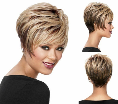 hair products Afro Short short wigs hair cuts blonde bob wig with bangs Straight Synthetic african a