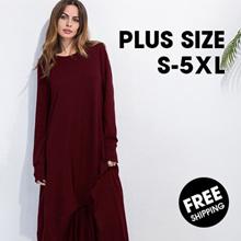 ❤PLUS SIZE❤Loose skirt plus size dress irregular long sleeved round collar casual T-shirt