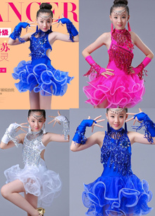 Kids Girls Young Lady Women Latin Dance performing wear dress 100cm to 170cm #A105
