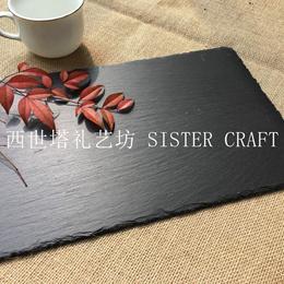 Japanese and Korean popular green slate dinner plate restaurant steak dinner mat hot pad features st
