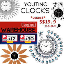 【S$12 OFF】✨unique silent crystal wall clock watch DIY clock sofa alarm clock digital