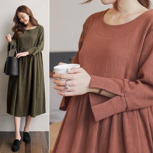 [SOIM] ルーズ な フィット 感の ワンピース で / ビッグサイズ ワンピース / 韓国ファッション妊婦服 / 産前産後兼用 / マタニティウェア/ プリーツワンピース