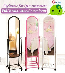 Full-length mirror/Standing mirror/with metal frame rack comes with wheels.Special offer!