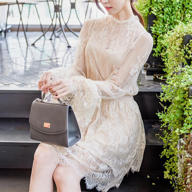 2017早秋  韓国ファッション  レディース  ワンピース 流行 体型 カバー レース 長袖 可愛い  上質  SKZ169