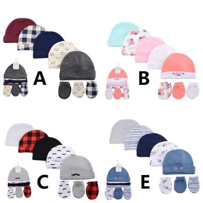Lictin Newborn Baby Cotton Caps Mittens Blue 100/% Cotton 4pcs Baby Cotton Caps Hats and 4 Pairs Baby Scratch Mittens Gloves for Baby Boy 0-6 Months