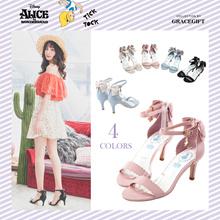 Gracegift-Disney Alice Ankle Strap Ribbon Charm Heel Sandals/Women/Ladies/Girls Shoes/