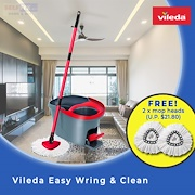 【Vileda】Easy Wring and Clean Spin Mop -DISINFECT/ SANITISE(Comes w 2 FREE extra mop heads worth $21)