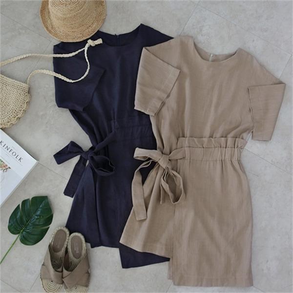 ベルアリンネンnew シャツ型ワンピース/ワンピース/韓国ファッション