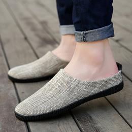 夏季亚麻拖鞋男士个性凉鞋凉拖鞋透气半托鞋韩版潮流夏天洞洞鞋