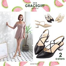[Free Gift!!] Gracegift-Classic Cross Strap Point-Toe Heel/Women/Ladies/Girls Shoes/Taiwan Fashion