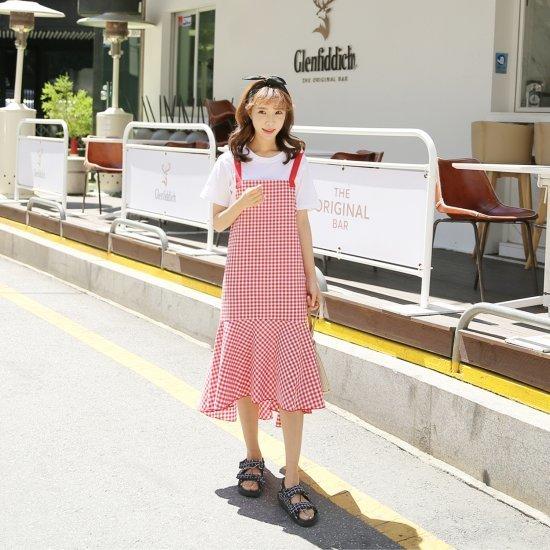 クルリクエンミ高人魚ワンピース 塔/袖なしのワンピース/ 韓国ファッション