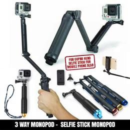 GoPro SJCAM SJ Action Cam 3 Way Monopod Tripod Accessories Parts HD Hero 3 4 5
