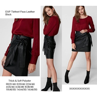 EXP Tiefront Faux Leather Black SKirt