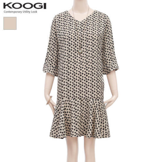 釘宮ベージュ・ドットフリルのワンピースKK3OP314A 綿ワンピース/ 韓国ファッション