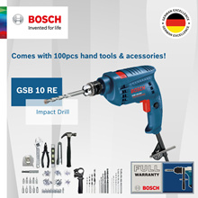 [Official E-Store] Bosch GSB 10 RE Impact Drill (100 Piece Value Kit). Powerful 500W Motor!
