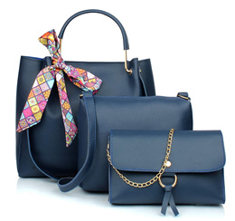 29K Women Ribbon Handbag with Sling Bag  Wristlet (Set of 3) -Blue Combo