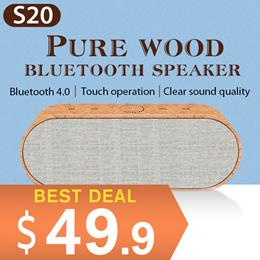NEW!! S20 Pure Wood Bluetooth Speaker !touch control!! HIFI Speaker !