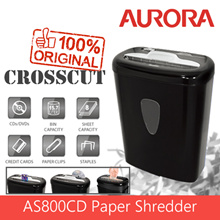Aurora AS800CD Plastic Paper Shredder 8 sheet (A4) Cross cut 5x47 mmLight Duty Shredding machine