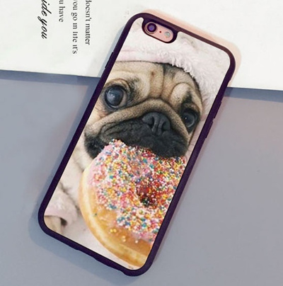 competitive price 5485f 85101 Cute Pugs With Donuts cell phone case for iphone 5 5S SE 5C 6 6S Plus 7  plus 8 Samsung galaxy S3 S4