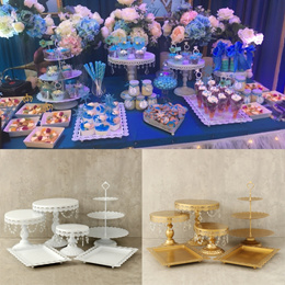 White/Gold 1 Pieces Crystal Cake Stand Set Cupcake Dessert Candy Display Holder Christmas Party Birt