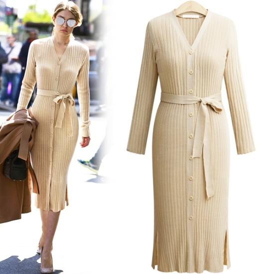 アデンOP1926ひもSETピントニット・ワンピース 綿ワンピース/ 韓国ファッション