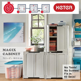 KETER | Magix Stackable Foldable Indoor Storage Cabinet | Fix in 60 Secs! | Home Organisation Shelf